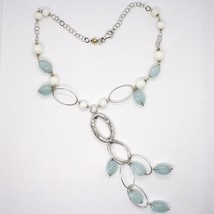 SILVER 925 NECKLACE, SPHERES AGATE WHITE, AQUAMARINE DROP, PENDANT, OVALS image 2