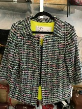 LEE ANDERSON COUTURE Multi Color Plaid Tweed Swing Jacket Sz S - $150.38