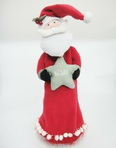 Santa Claus Fabric Wine Bottle Cover Bag Be Jolly Star Red Flannel Chris... - $15.04
