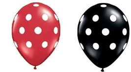 25Ct Assorted Red and Black Balloons with White Polka Dots - $8.40