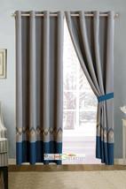 4-Pc Zola Chevron ZigZag Crisscross Curtain Set Navy Yellow Drape Sheer Liner - $40.89