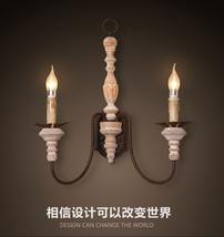 Vintage Industrial Wood Candle Lampholder Sconce  Antique White Double W... - $186.54