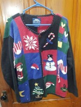 Vintage Rey Wear Hand Knit Wool Ugly Christmas Sweater made in Bolivia S... - $18.70