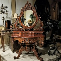 Vintage ROCOCO Style Ornate Carved Cherry Wood Vanity Table with Mirror  - $1,195.00