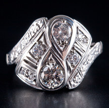 Vintage 1950's 14k White Gold Round Diamond Cluster Cocktail Ring .79ctw... - $2,190.00