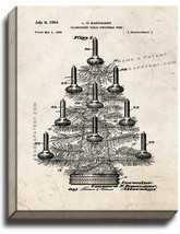 Illuminated Table Christmas Tree Patent Print Old Look on Canvas - $39.95+