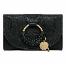 NWT SEE BY CHLOE Hana Compact Wallet Card Case Bill Black Gold CHS17WP78... - $193.05