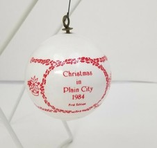 Christmas in Plain City 1984 First Edition Tree Ornament Ohio White - $8.32