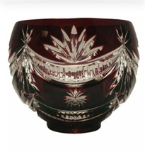 Waterford Ruby Red WINTER WONDERLAND Cut to Clear Footed Bowl - $98.95