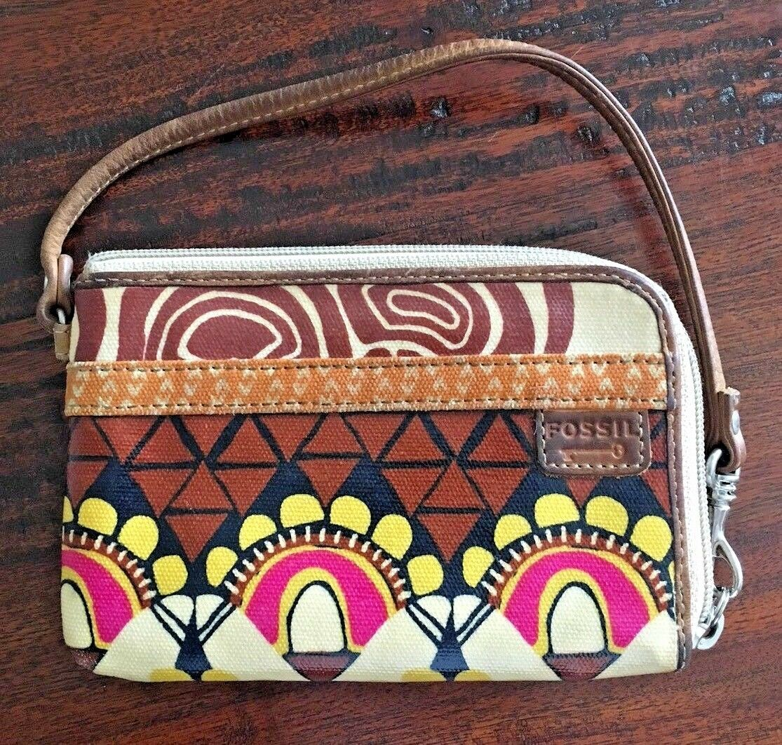 FOSSIL Key-Per Brown Floral Pattern Zip Around Coated Canvas Wallet 6x4