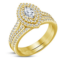 Marquise Cut Diamond Womens Engagement Ring Set 14k Gold Finish 925 Solid Silver - $93.99