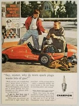 1960 Print Ad Champion Spark Plugs Go-Kart Worked on by Father & Son - $11.84