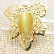 Yellow Tiger's Eye Stone Gold Tone Leaf Necklace Pendant Vintage - $24.74