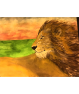 """""""Lion-Hearted""""-  an Original Watercolor Painting, Matted 16"""" X 20"""" - $125.00"""