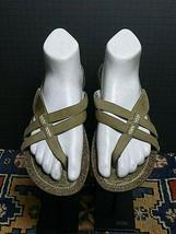 Women's TEVA Olived Oiled Leather Thong Slide Sport Sandal Sz. 8 Excellent! - $37.05