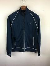 Express Mens Track Jacket L Large Blue White Trim Full Zip Slim Fit Pockets - $29.69