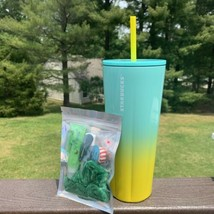 Starbucks Summer 2021 Stainless Steel Ombre 24oz Tumbler Yellow Teal Gre... - $49.50