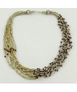 RED GARNET Yellow Gold Vermeil Beaded Multi-Strand String NECKLACE - GOR... - $125.00