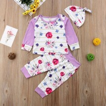 Newborn Baby Girl Floral Cotton Tops Pants Leggings 3Pcs Outfit Clothes ... - $8.69