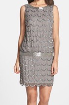 Adrianna Papell Taupe Fishscale Beaded SleeveLes Short Dress Size  16  $198 - $59.39