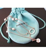 "Tiffany & Co Pearls By The Yard Silver Center Circle Necklace 16"" With P... - $245.00"
