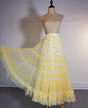 Women Yellow Tulle Maxi Skirt High Waist Floral Tiered Tulle Skirt Plus Size image 4