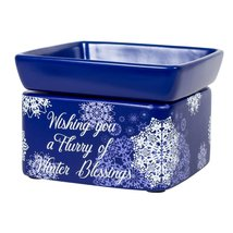 Blue Christmas Winter Blessings Electric 2 in 1 Jar Candle, Wax & Oil Warmer - $31.99