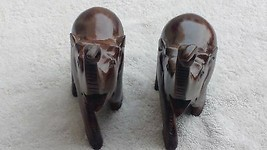ELEPHANT FIGURINE Home Decor SET OF 2 PC WOODEN TRUNK UP  Gift Brown - $24.75