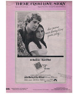 Theme From Love Story Sheet Music Francis Lai Ali McGraw Ryan O'Neal - $3.91