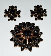 VTG Gold Tone Large Black Glass Rhinestone Flower Brooch Pin Earrings Set - $74.25