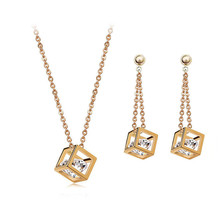 Cube inside Zircon Crystals Jewelry Set for women Gold color Drop Earrings - $9.99