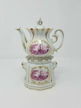 Vintage Limoges French porcelain Tisaniere Veilleuse teapot & warmer - $168.30