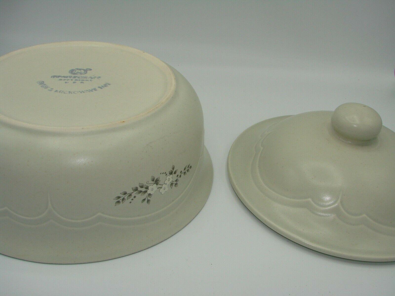 Pristine Pfaltzgraff Heirloom Covered Casserole Dish 8.75 2 Quart White Flowers image 7