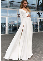 White  V-Neck Front Slit Long Prom Dress With Sleeve Summer Women Party ... - $32.44
