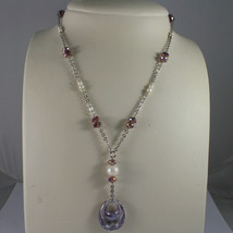 .925 SILVER RHODIUM NECKLACE WITH PURPLE CRYSTALS, PEARLS AND DROP OF ZIRCONIA image 1