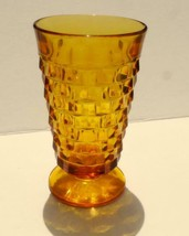 Cubist Indiana Colony Amber Glass Whitehall Footed Tumbler 14 oz - $4.24