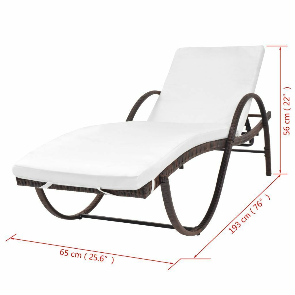 vidaXL Sunlounger w/ Table Poly Rattan Wicker Patio Sun Day Bed Lounge 2 Colors image 10
