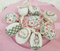 Easter Vintage Style Floral Bunny Rabbit Egg Ornaments Tree Decor Set of 9 - $19.99