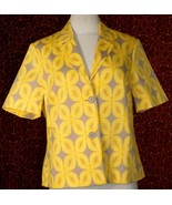COLDWATER CREEK yellow stretch cotton short sleeve jacket 12 (T23-03H7G) - $22.75