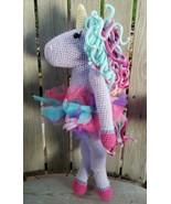 Handmade Unicorn Plush Lovey Doll Сrochet Baby Nursery Pillow Décor Purple Stuff - $75.22