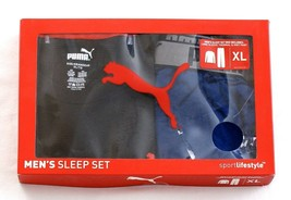 Puma Blue & Black Long Sleeve Thermal & Knit Pant Sleepwear Set Men's Ne... - $37.49