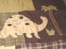 Pottery Barn Kids Quilted Madras Pillow Sham Standard Dinosaur Green Bro... - $25.72