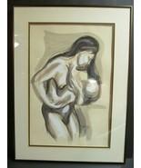 "Artist Signed ""Hardy"" Mother Nursing Watercolor Original Fred Clark Museum  - $98.01"