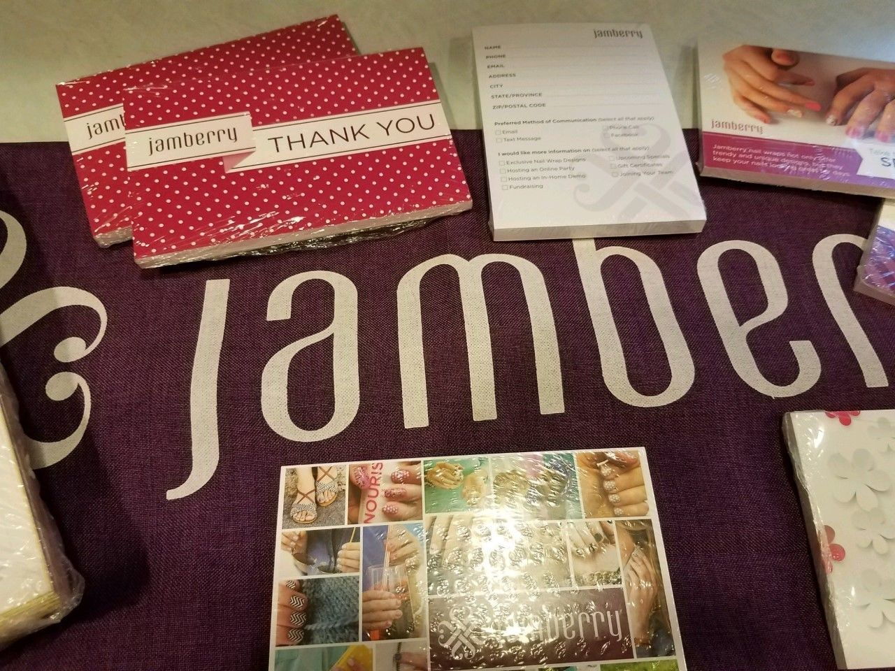 Lot of New Jamberry Consultant Business Supplies with Jamberry Table Runner image 8