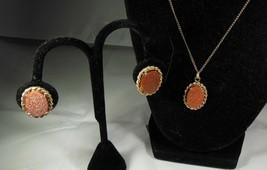 Vintage Sandstone Necklace & Earrings - $12.86