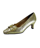 FLORAL Sage Women Wide Width Evening Glitter Dress Pumps With Bow - $39.95