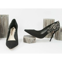 Sophia Webster Black Floral Applique Suede High Heel Pump Shoes 38 - $390.56