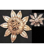 Lisner flower gold tone signed vintage pin jewelry brooch open filigree ... - $14.00