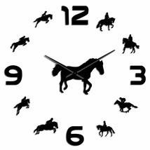 Horse Riding Silhouette DIY Wall Clock Stickers Large Frameless Horsemen... - $26.73+