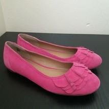 Lands end Women Suede Leather Ballet Flats Shoes Size 5M Pink Color - $22.77